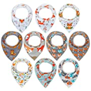 10-Pack Bandana Bibs Upsimples Baby Drool Bibs for Drooling and Teething, 100% Cotton Super Absorbent, 10 Stylish Design for Baby Girls&Boys Toddler, Cute Fox Set