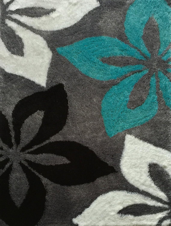 Amazon com lola shag viscose black white turquoise area rug hand tufted size 5 x7 5x7lola009grey kitchen dining