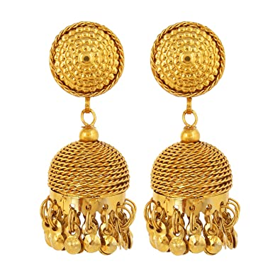 da6d1e066eaf8 Goldnera Gold Coloured Non Precious Metal Jhumka For Women