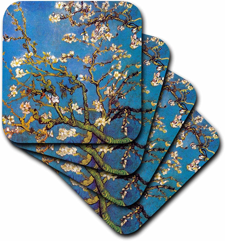 3dRose CST_155639_4 Almond Blossoms Vincent Van Gogh 1890 Famous Fine Art by Masters White Flower Branches Blue Ceramic Tile Coasters, Set of 8