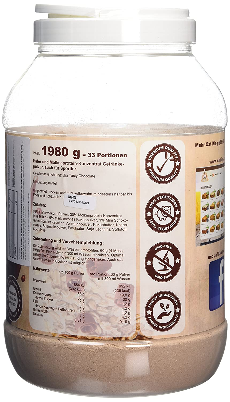 LSP Oat King Oats & Whey Protein Drink Big Tasty Chocolate - 1980 gr: Amazon.es: Salud y cuidado personal