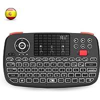Rii i4 Mini Bluetooth Teclado inalámbrico retroiluminado, 2 en 1 (Bluetooth & Wireless 2.4 GHz), QWERTY español, para…