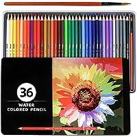 PuTvåfärgade blyertspennor, 36 st numrerade akvarellpennor med borstpenna och metalllåda, färgpennor, ritblyertspennor…
