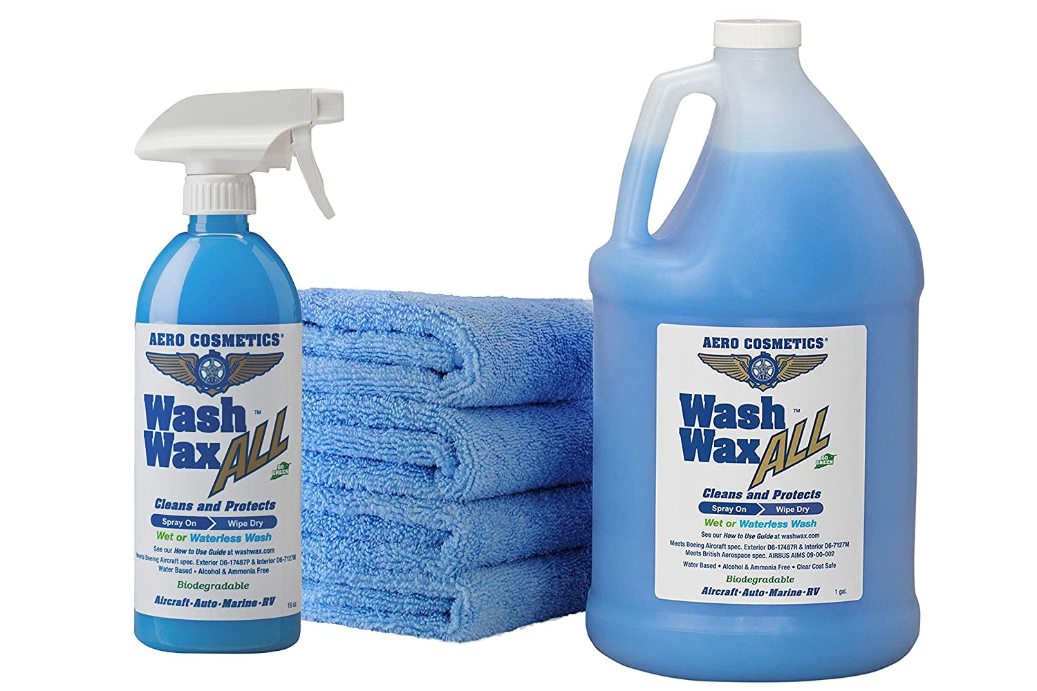 Wet or Waterless Car Wash Wax Kit 144 oz. Aircraft Quality for your Car RV Boat & Motorcycle. Guaranteed the Best Wash Wax Anywhere, Anytime Home Office School Garage Parking Lots Parks Aero Cosmetics FBA_wcwk