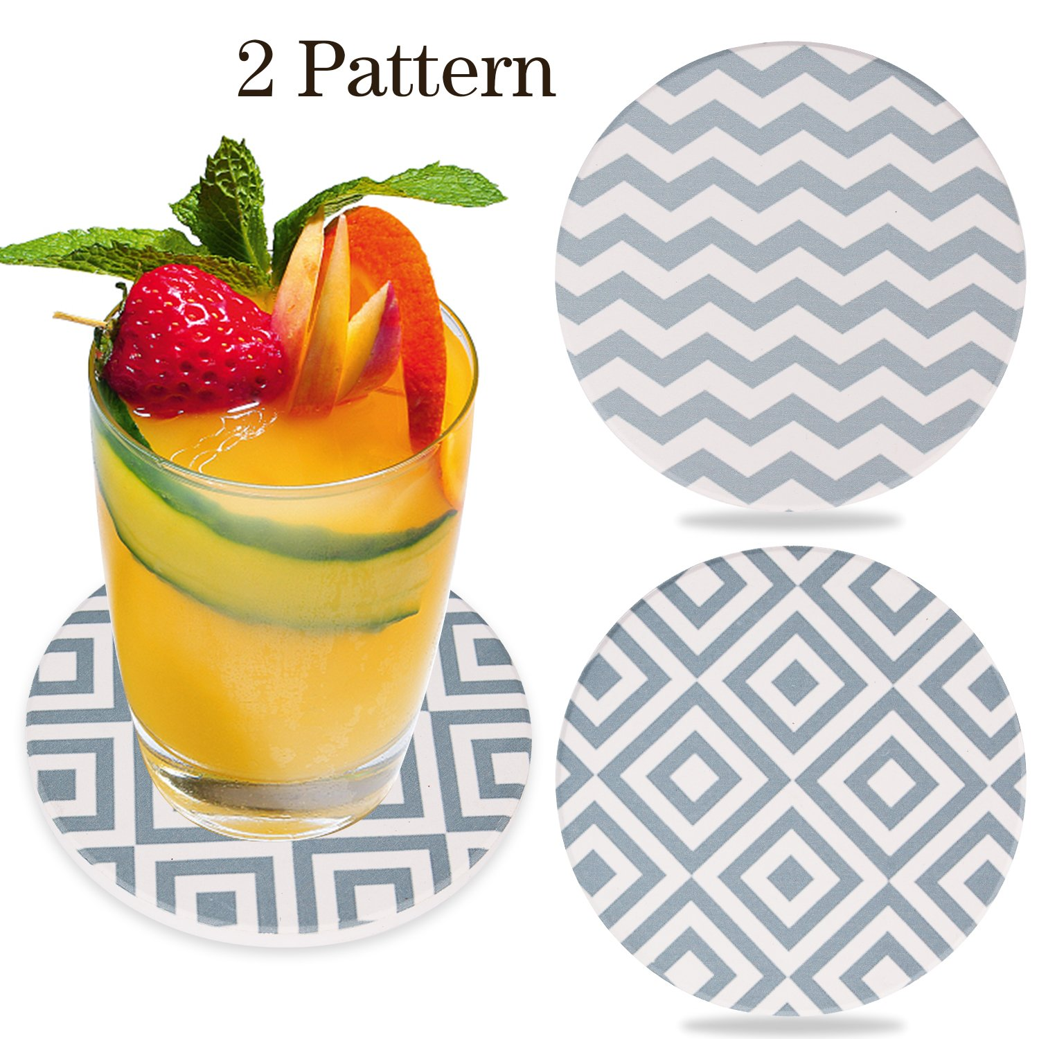 VOHUKO 6 Pcs Absorbent Coasters with Steel Holder,/2 Pattern Ceramic Stone Coasters Set Save Furniture From Drink Spill and Water Rings