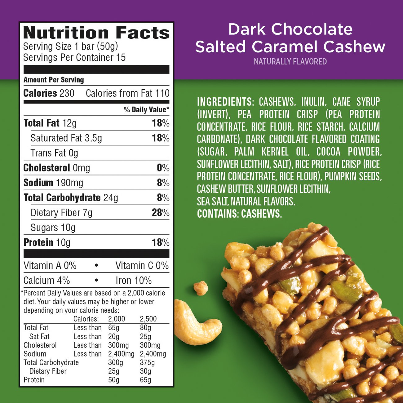 PowerBar Plant Protein Bar, Dark Chocolate Salted Caramel Cashew, 15 Count, Pack of 1 by Powerbar (Image #3)