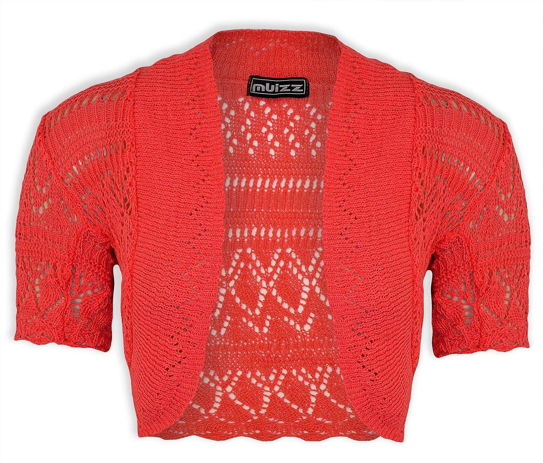 Girls Crochet Bolero Shrug Kids Knitted Short Sleeve Cardigan New Age 2-13 Years
