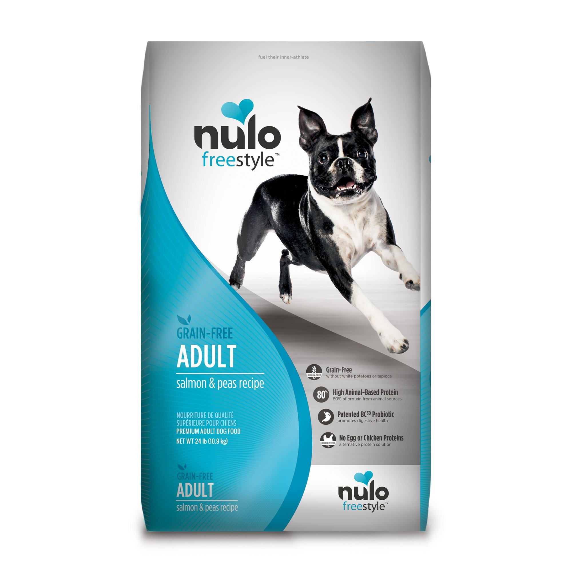 Nulo Grain Free Dog Food: All Natural Adult Dry Pet Food Large Small Breed Dogs (Salmon, 24lb)