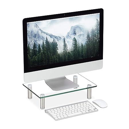 Relaxdays Soporte Monitor, Elevador Pantalla Ordenador, Portátil, Ajustable, Cristal, 1 Ud, 56 x 24 cm, Transparente: Amazon.es: Hogar
