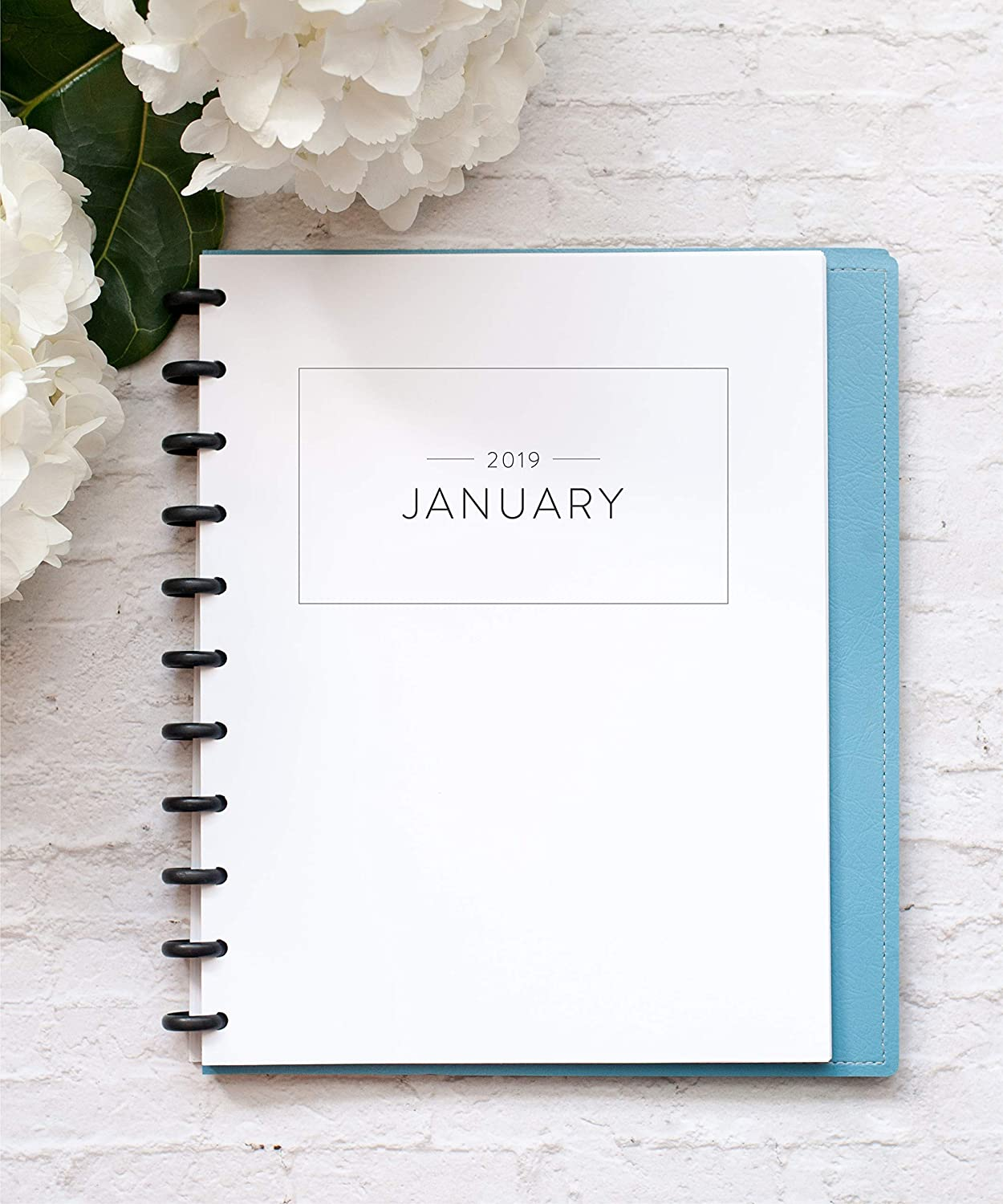 2019 Monthly Calendar with Dividers for Disc-Bound Planners, Fits 11-Disc Levenger Circa, Arc by Staples, TUL by Office Depot, Letter Size 8.5