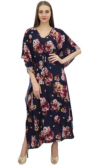 Bimba Bleu Caftan Femmes imprimé floral Kaftan Kimono dété Maxi Dress-36 c2b84c0a18f