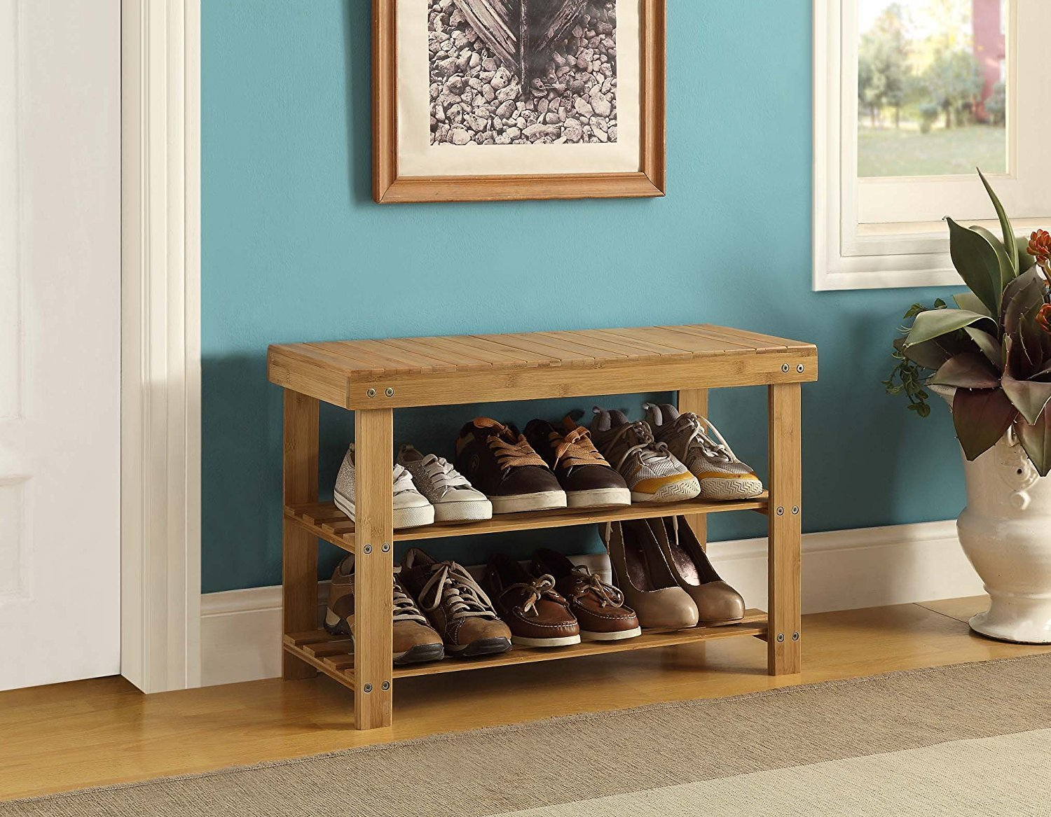 Amazon.com: 100% Natural Bamboo Wood 3-Tier Shoe Storage Bench Racks ...