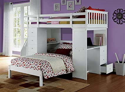 Stupendous Amazon Com Acme Freya Loft Bed Set With Twin Bed In White Pdpeps Interior Chair Design Pdpepsorg