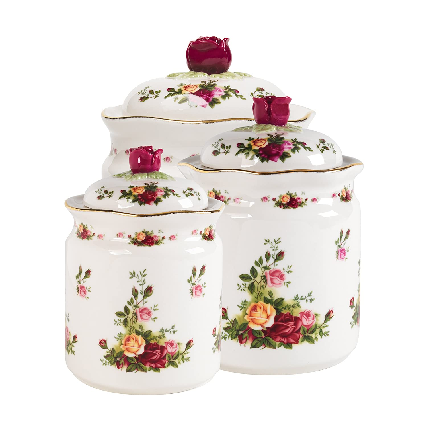 amazon com royal albert old country roses canisters set of 3 amazon com royal albert old country roses canisters set of 3 cookie jars kitchen dining