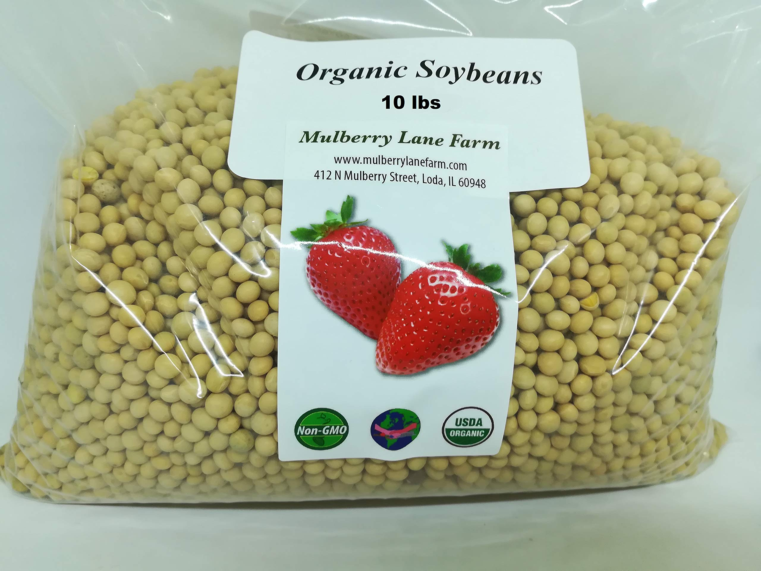 Soybeans, 10 Pounds Soy Beans Whole, USDA Certified Organic, Non-GMO Bulk by Mulberry Lane Farms