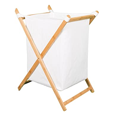 BirdRock Home X Bamboo Hamper   Made of Natural Bamboo   Includes Machine Washable Cotton Canvas Liner   Lightweight for Easy Transportation