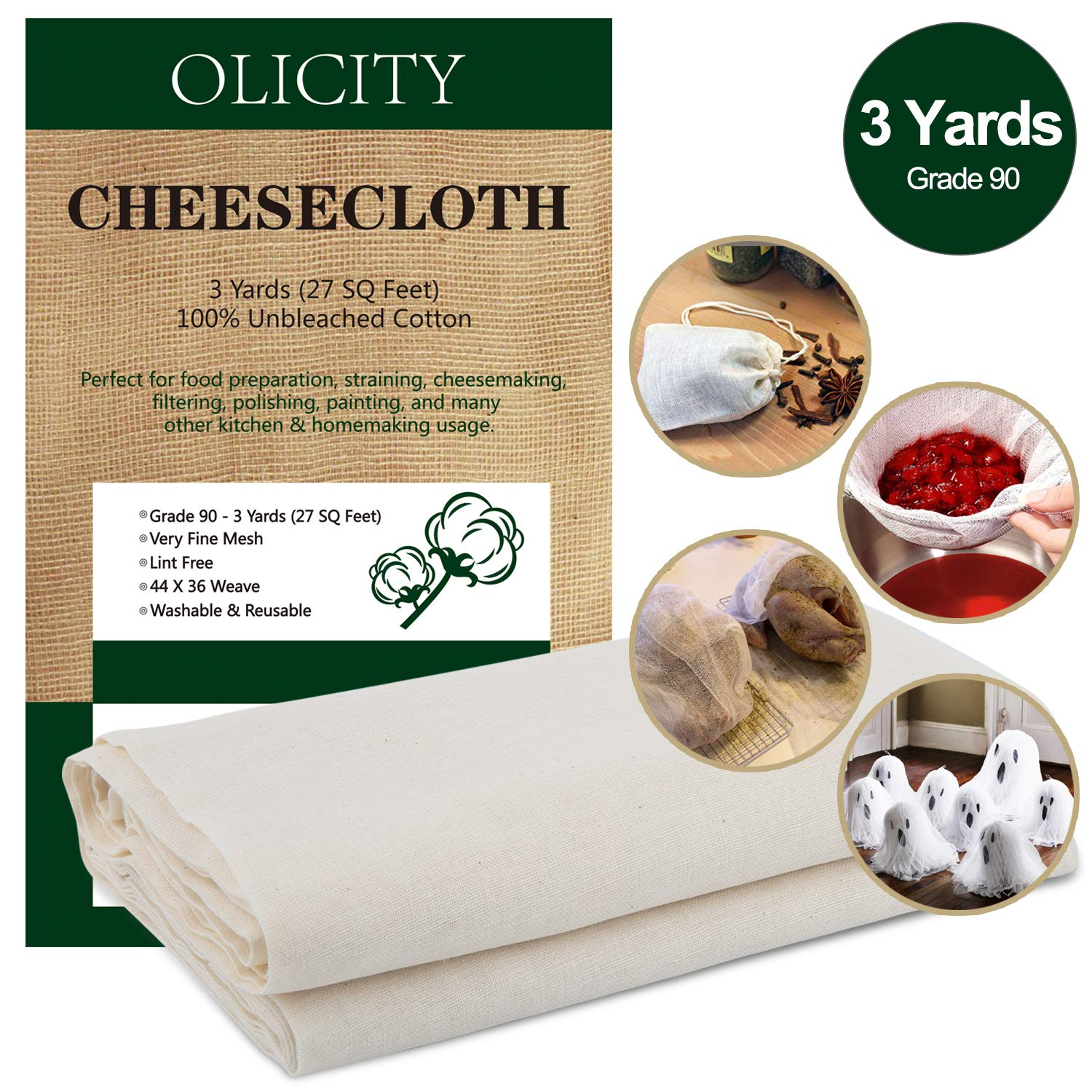 Olicity Cheesecloth, Grade 90, 27 Sq Feet, 100% Unbleached Cotton Fabric Ultra Fine Muslin Cloths for Butter, Cooking, Strainer, Baking, Hallowmas Decorations (Grade 90-3 Yards)