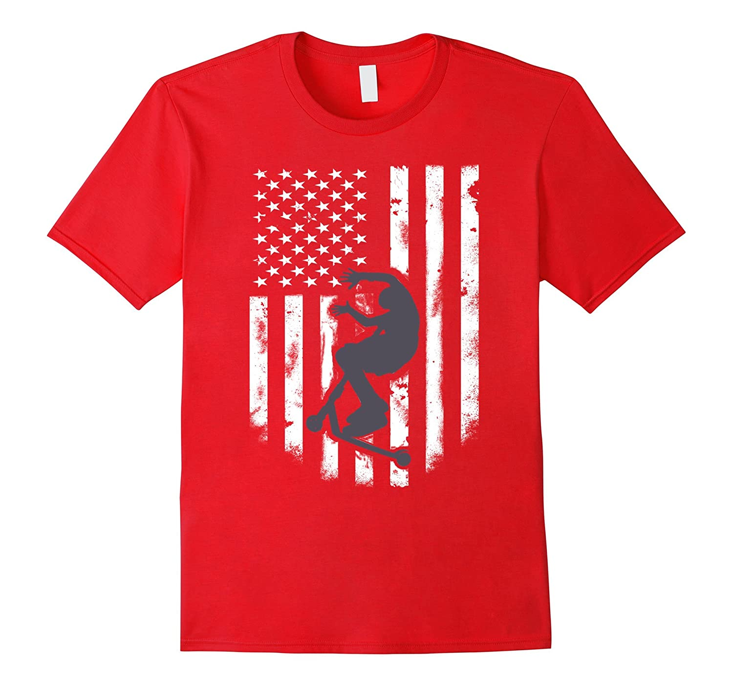 American Flag Stunt Scooter Shirt Distressed Unisex Top Tee-FL