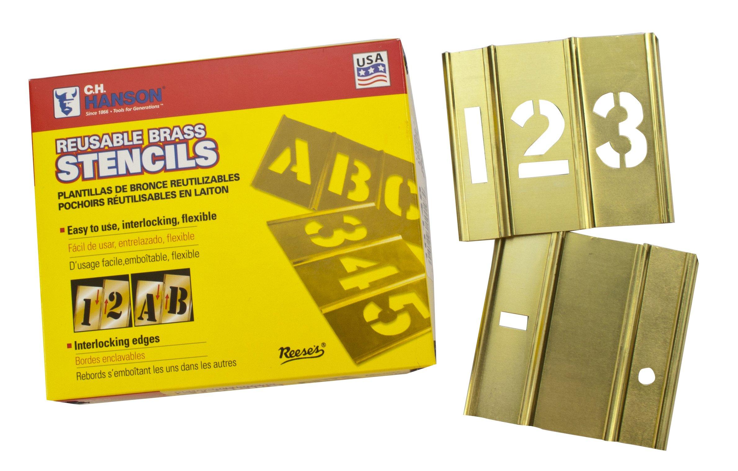 CH Hanson 10016 6 inch Brass Number 15 Piece Interlocking Stencil Set