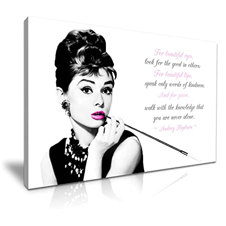 Audrey Hepburn Quote For Beautiful Eyes Canvas Wall Art Picture