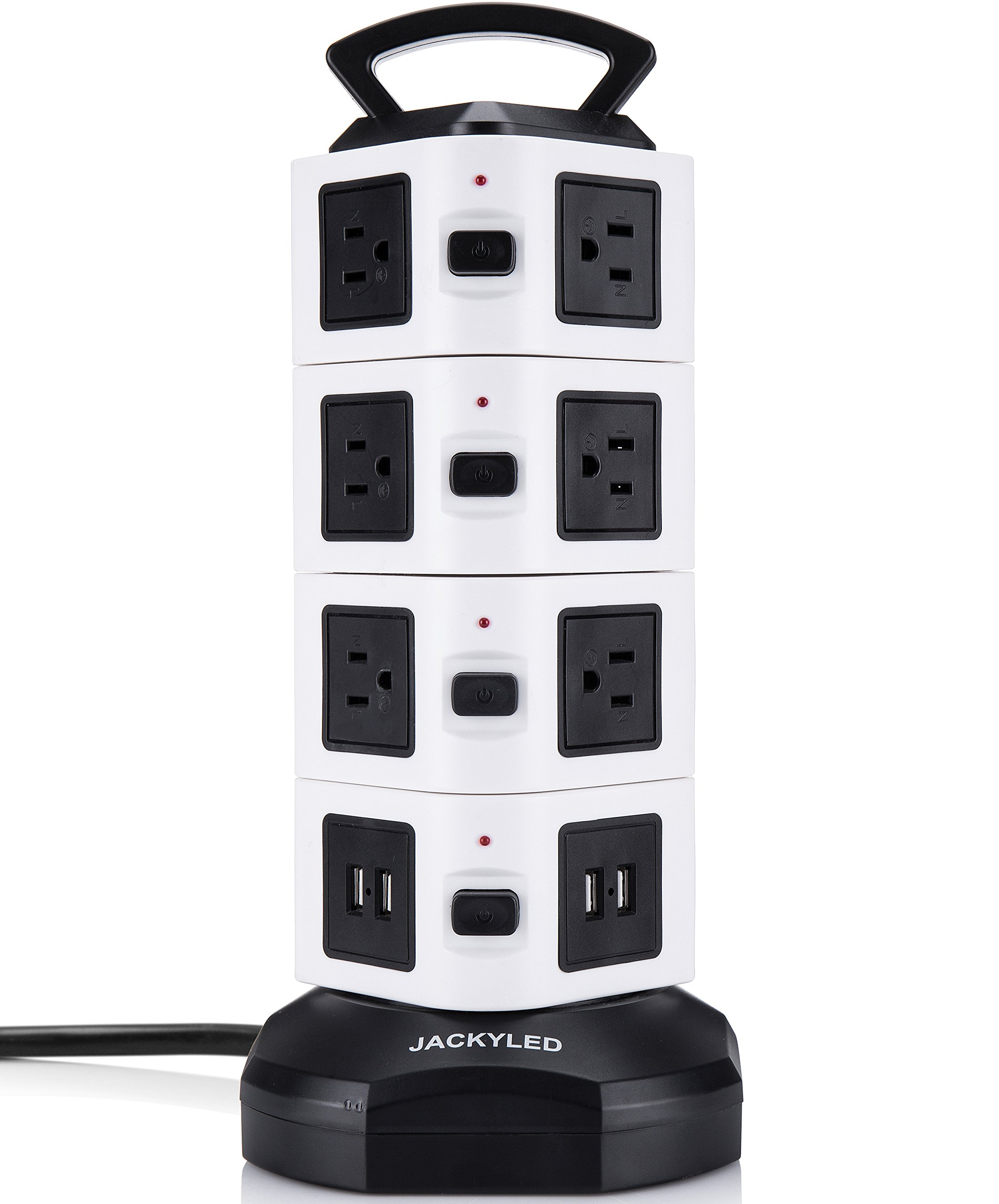 JACKYLED Power Strip - 14 Outlet Plugs with 4 USB Slot 6.5ft Cord Wire Extension 3000W Surge Protector Universal Socket Charging Station for PC Laptops Mobile Devices