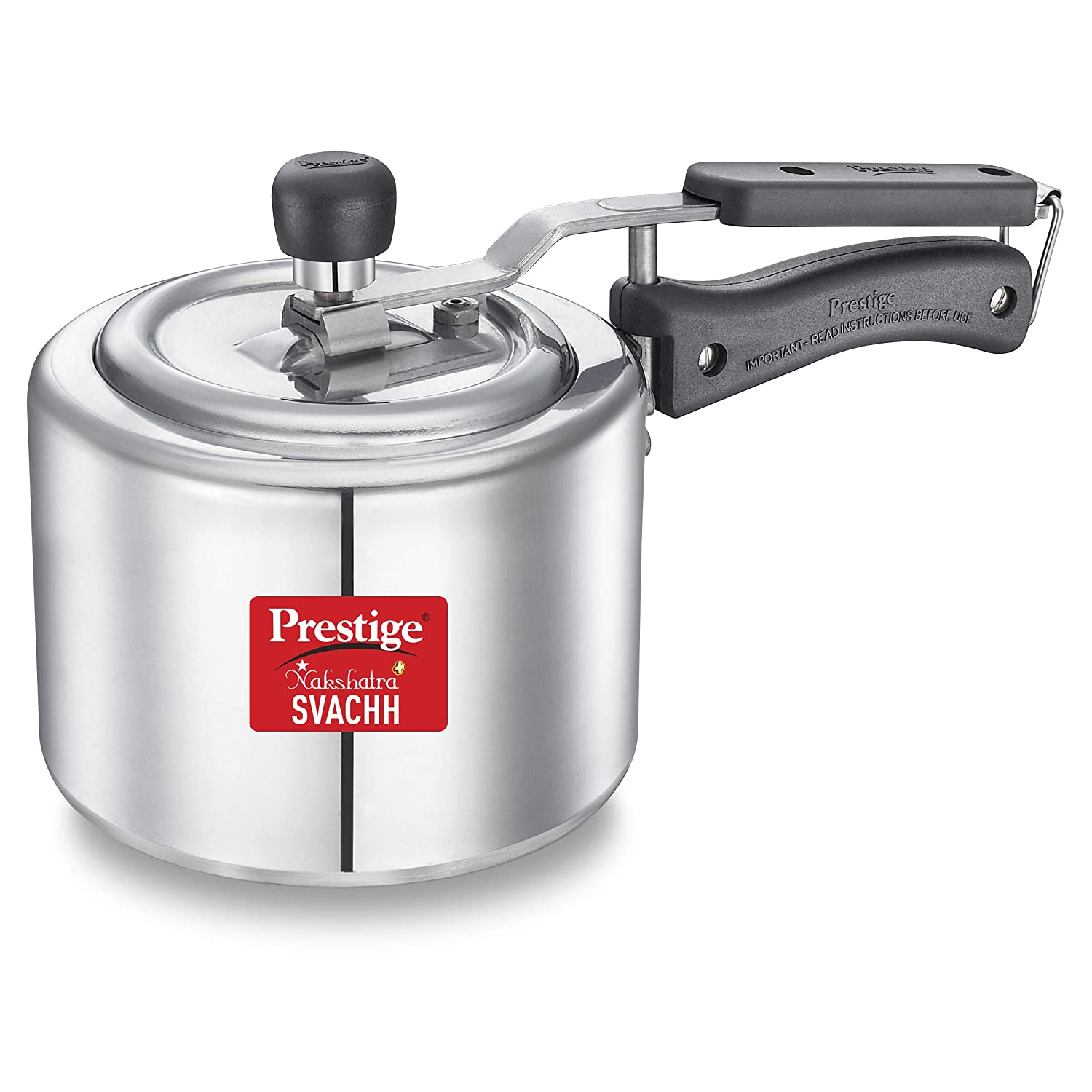 Prestige Svachh, 10732, 2 L, Straight Wall Aluminium Pressure Cooker, with deep lid for Spillage Control