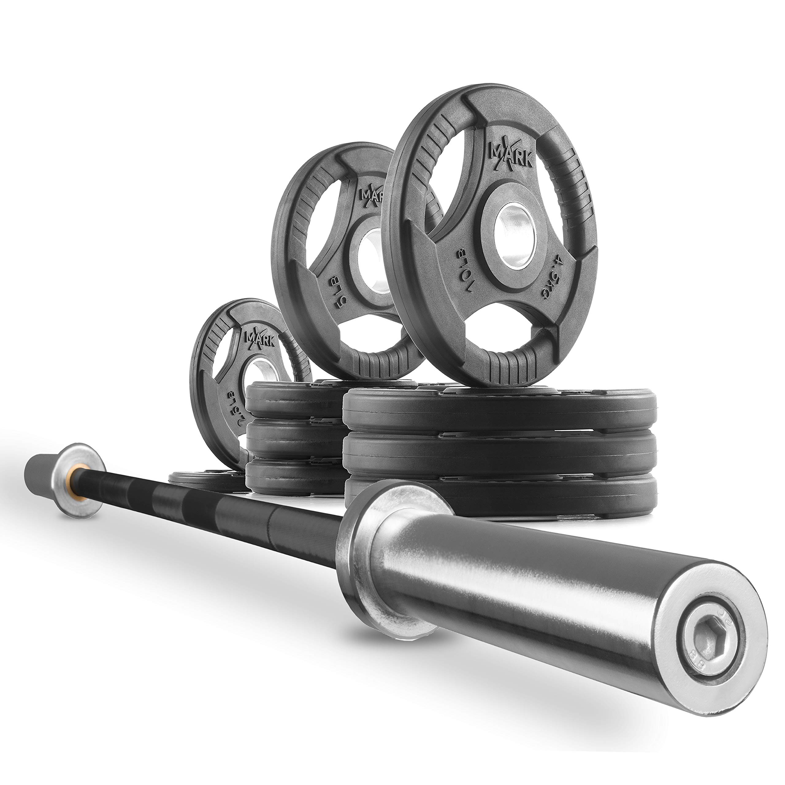 XMark Fitness Combo Offer 7 ft. Olympic Excercise Barbell XM-3817-BLACK with Premium Quality Rubber Coated Tri-Grip Olympic Weights Set XM-3377-BAL-65