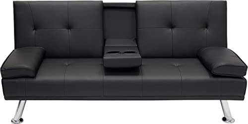 Modern Entertainment Futon Black Sofa Bed Fold Up Down Recliner