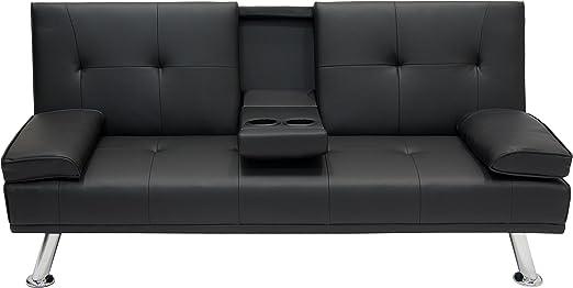 Amazon.com: Moderno sofá cama de futón de entretenimiento ...
