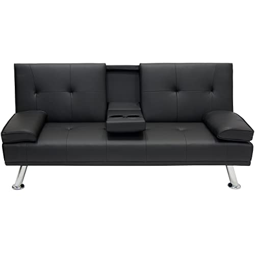 best choice products modern entertainment futon sofa bed fold up  u0026 down recliner couch with cup amazon best sellers  best futons  rh   amazon