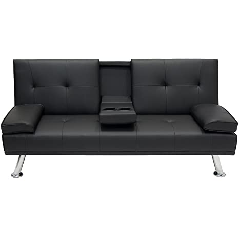 Review Best Choice Products Modern Faux Leather Futon Sofa Bed Fold Up & Down Recliner Couch with Cup Holders - Black