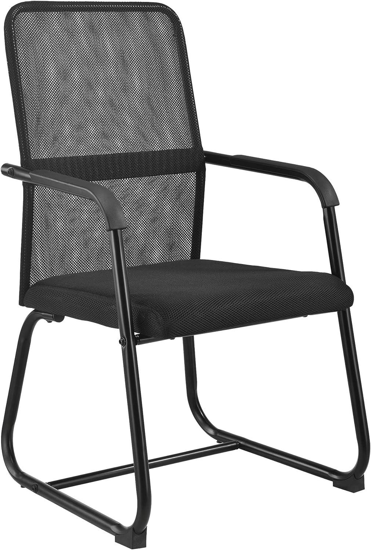 [en.casa] Silla de Conferencia 92 x 49 x 57 cm Silla de Oficina Silla de Espera Silla para Trabajar Transpirable Malla Negro