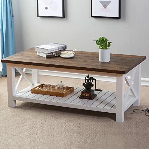 FurniChoi Wood Rustic Coffee Table, Farmhouse Vintage Cocktail Table with Shelf for Living Room White and Brown