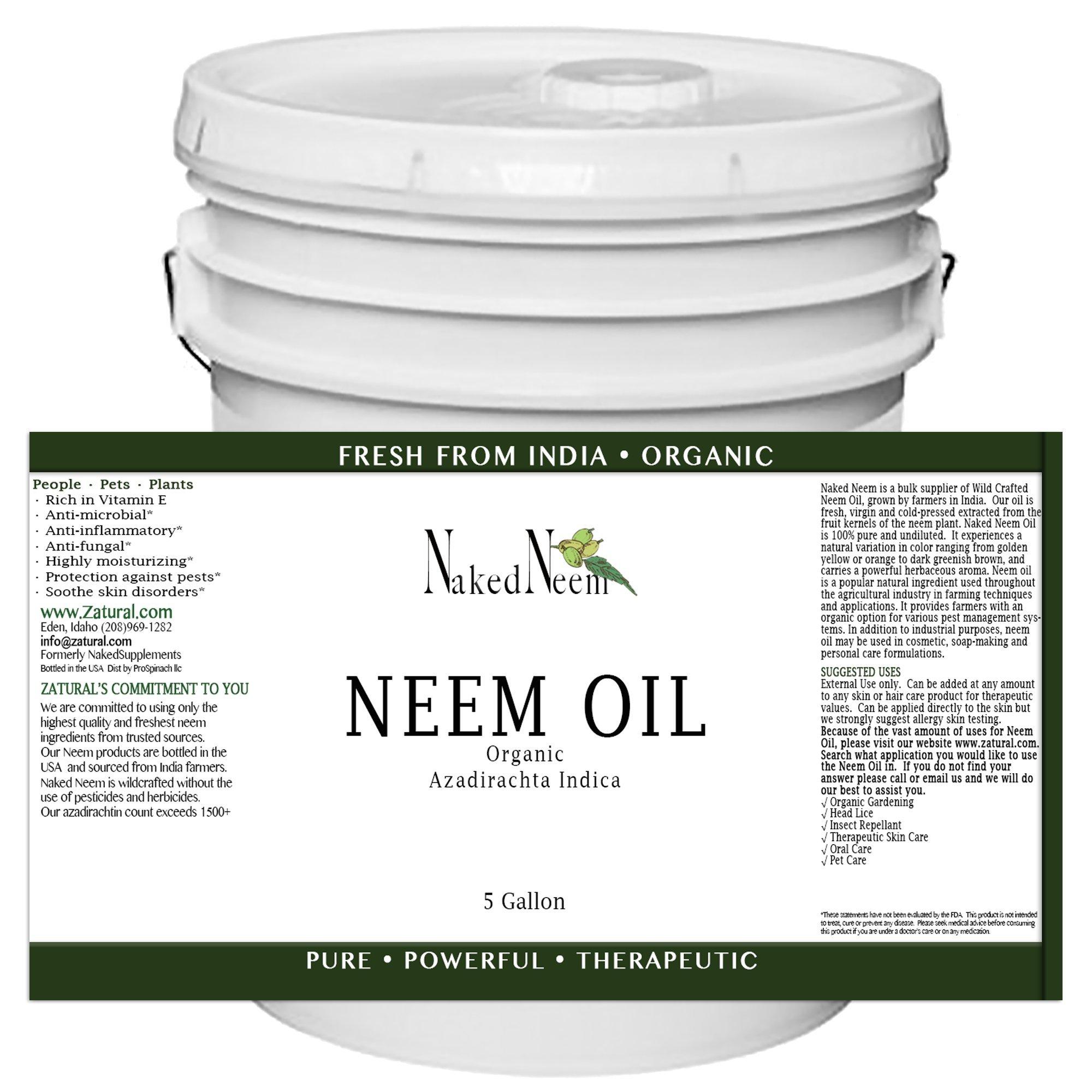 Organic Neem Oil (5 Gallon) 100% Pure Cold Press, Unrefined - 6 Sizes, Best Prices …