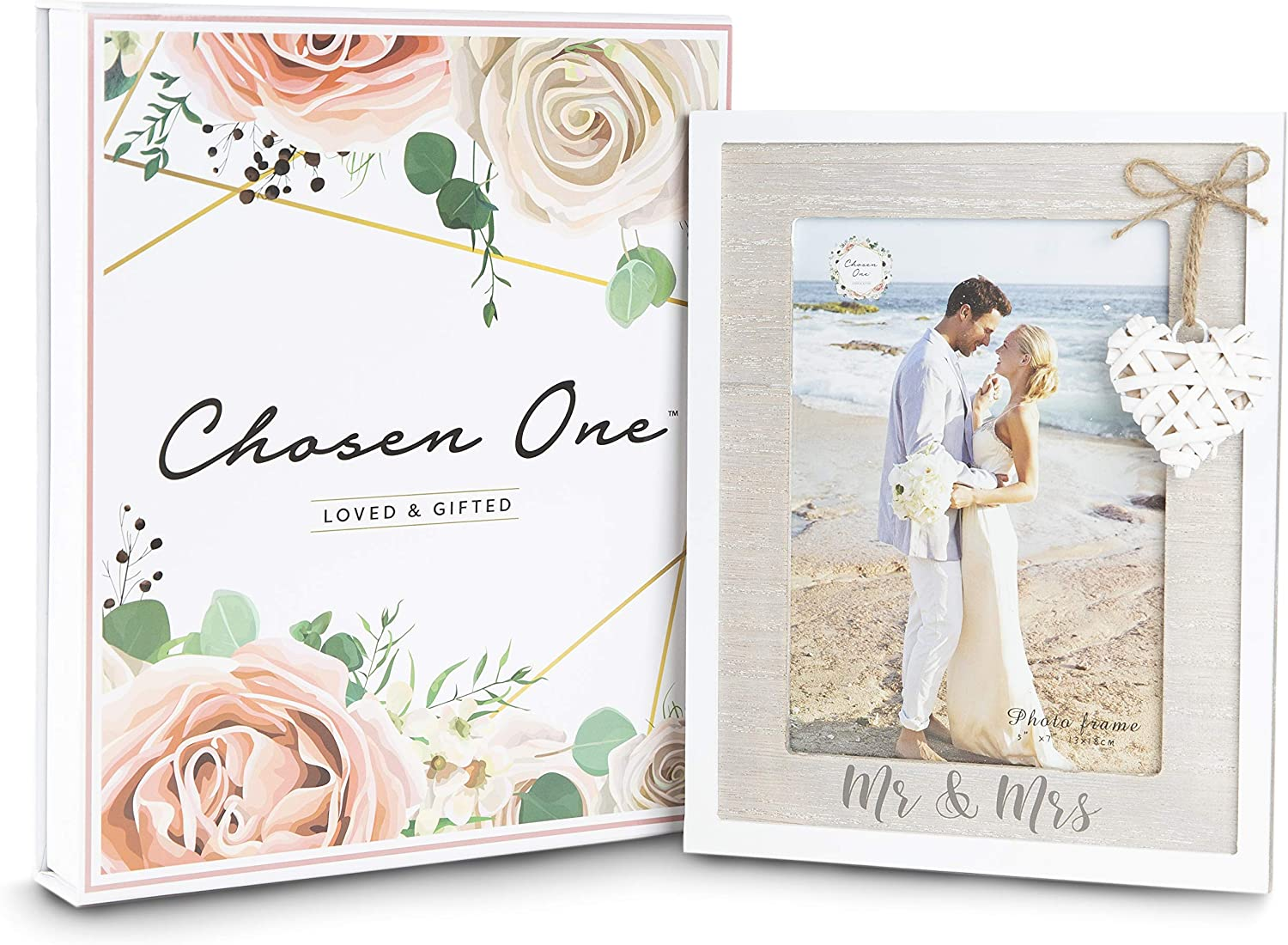 Amazon Com Mr Mrs 5x7 Picture Frame By Chosen One Rustic White Picture Frames With Heart Accent Bridal Shower Gifts Engagement Frame And Wedding Gifts For The Couple