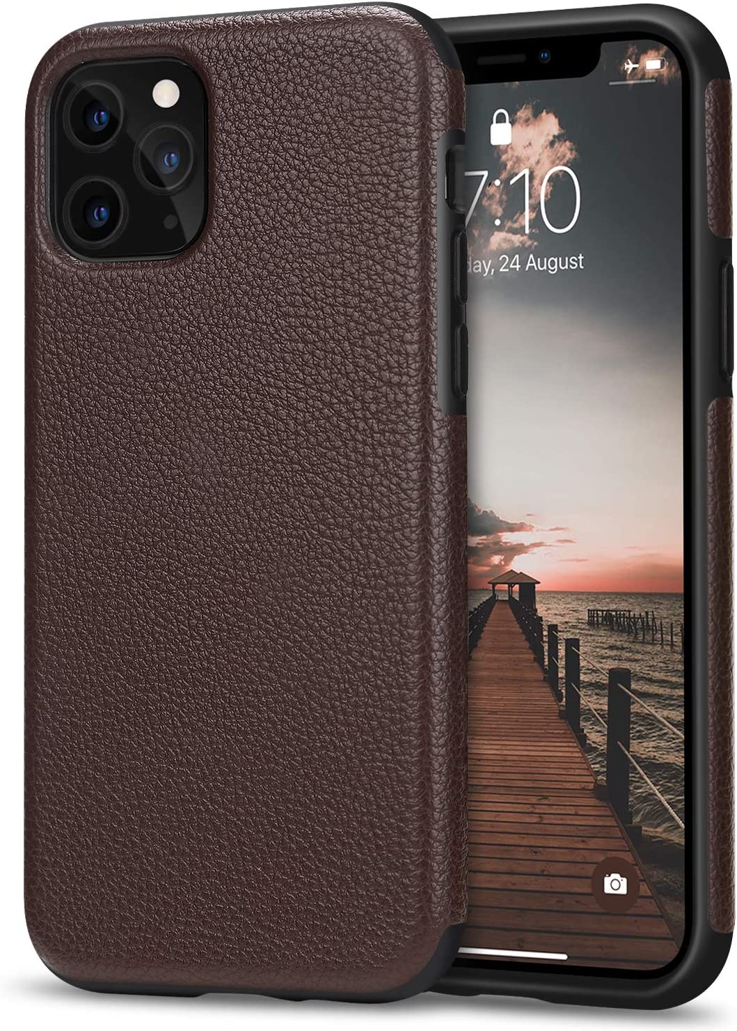 Tasikar Compatible with iPhone 11 Pro Max Case Protective Leather Cover TPU Bumper Design Hybrid Case (Brown)