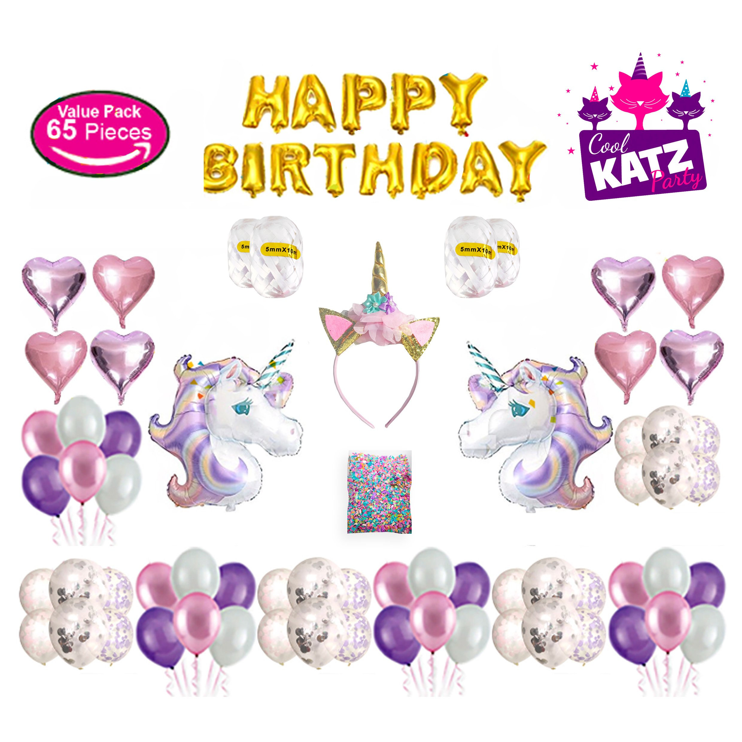 Unicorn Party Supplies Set – All in One Birthday Decorations Unicorns Balloon, Heart Shaped Foil, Confetti, Latex Balloons, Headband, Happy Birthday Card| Party Favors, Gifts for Girls Kids, 65 Pieces by Action One