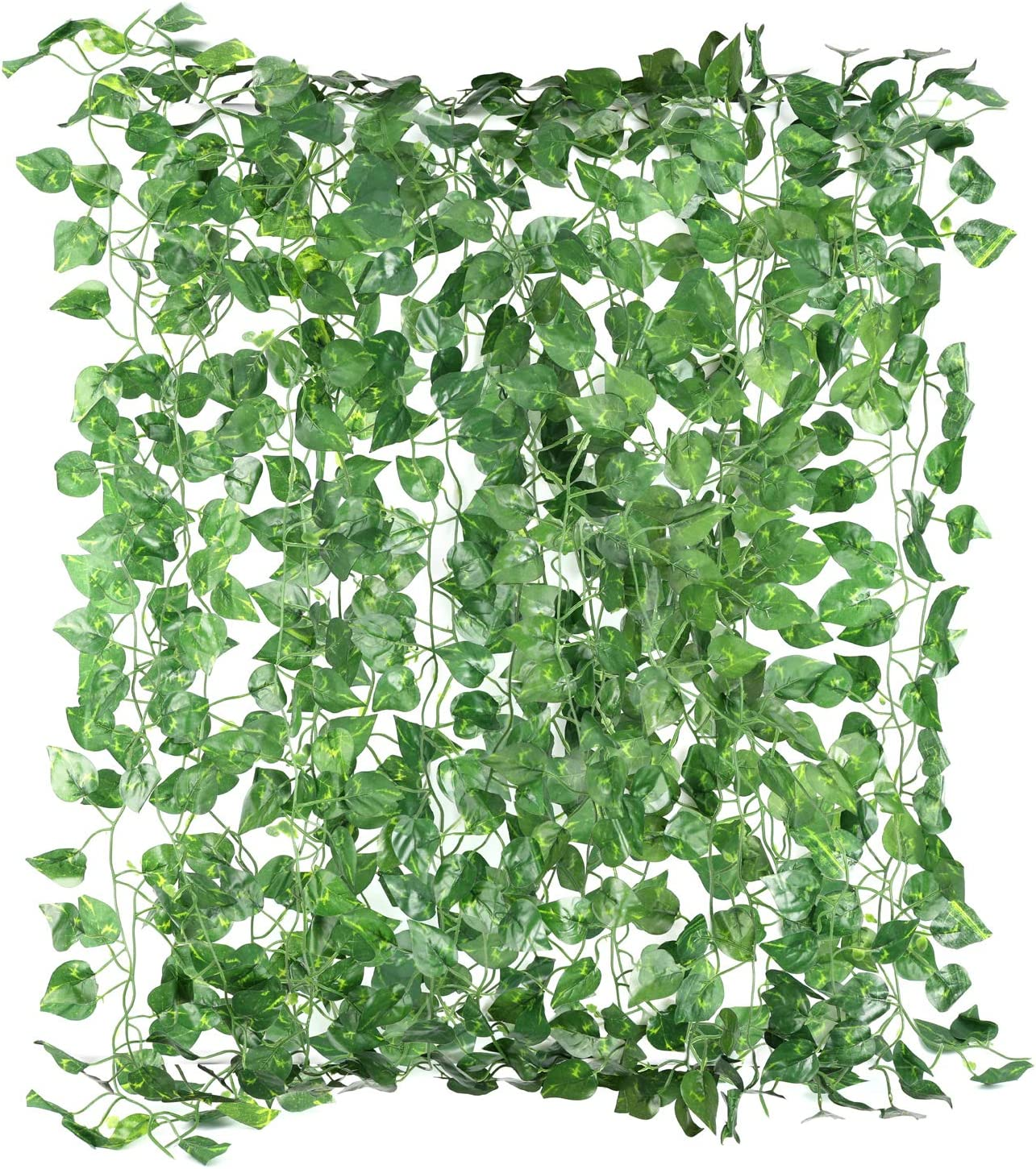 Yesland 24 Strands 156 Ft Fake Foliage Garland Leaves & Artificial Ivy Vine Hanging Plant, Decoration Scindapsus Leaves Plants for Garden Office Wedding Wall Decor