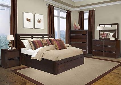 Amazon.com: Cottage Creek Queen Elm Wood Bedroom Set 4 Piece ...