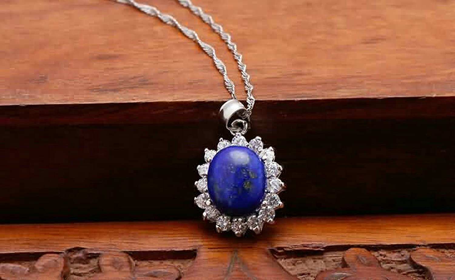 AMDXD Jewelry Sterling Silver Pendant Necklaces for Women Sunflower Cubic Zirconia Blue 1.6X1.4CM