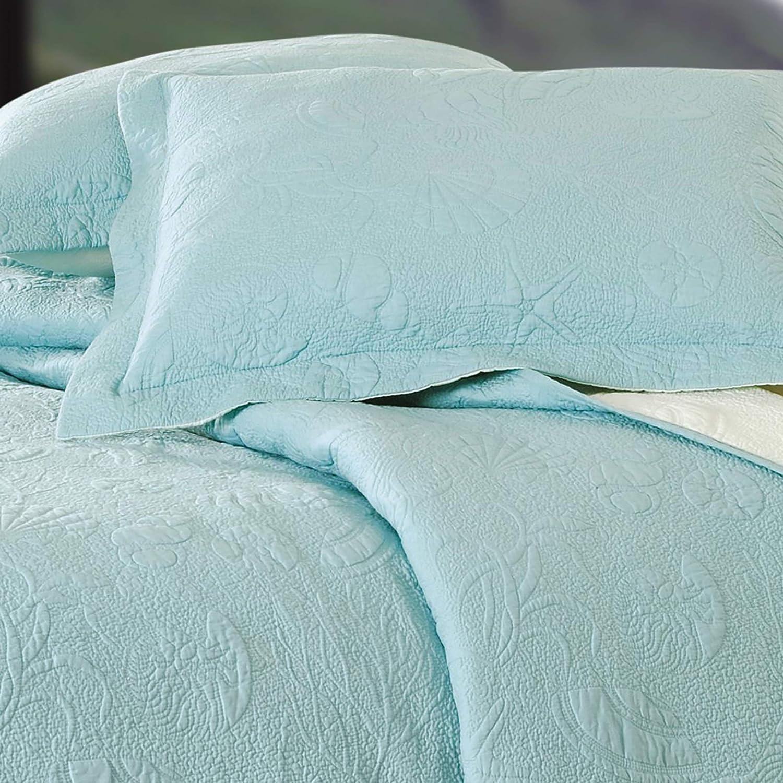 C&F Home Blue Shell King Matelasse King Quilt Blue