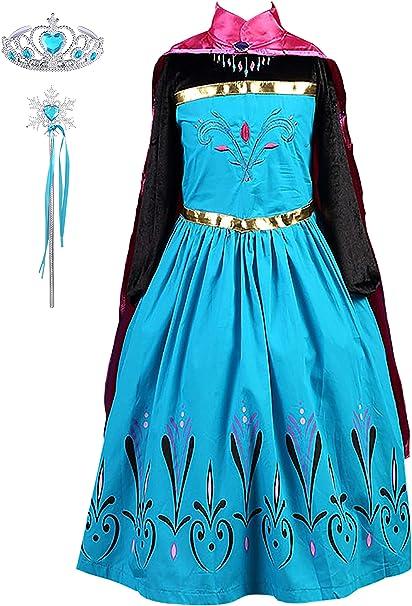 DJSJ- Vestido de Princesa Anna, Reina Frozen Disfraz Anna Vestido ...