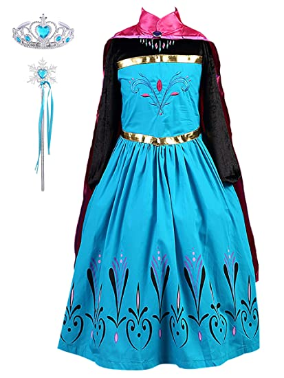 DJSJ- Vestido de Princesa Anna, Reina Frozen Disfraz Anna ...