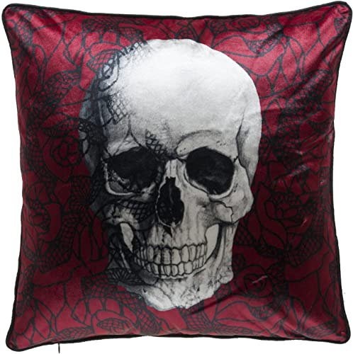 14Karat Home Velvet Scarlet Skull Throw Pillow with Feather Down Insert, Red