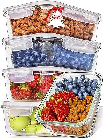 Prep Naturals Recipientes de Vidrio para Alimentos (Juego de 5 x 1064 ml) Envases de Cristal con Tapas Herméticas para la Cocina | Contenedores para ...