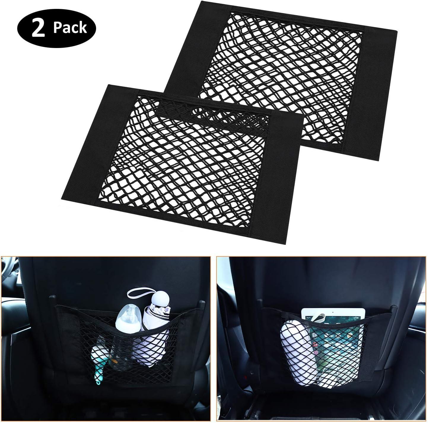 Universal Mesh Trunk Cargo Side Back Seat Organizer Flexible Nylon Car Storage Wall Sticker Pouch Bag Auto Accessories 2 Pack Car Storage Net
