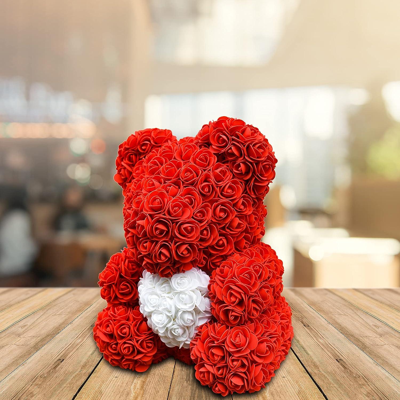 40 cm Blumenb/är mit Herz Rosenteddy mit Geschenkbox//B/är aus Rosen f/ür Valentinstag Jahrestag//Blumen Teddyb/är mit Extra Geschenkkarte und Rosen in Box Geburtstag