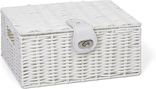 Storage Basket  White Resin Woven Hamper Box With Lid /& Lock In Different Sizes