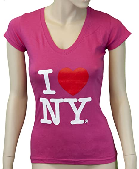 73eae1f65d9a Amazon.com  I Love NY New York Womens V-Neck T-Shirt Spandex Heart ...