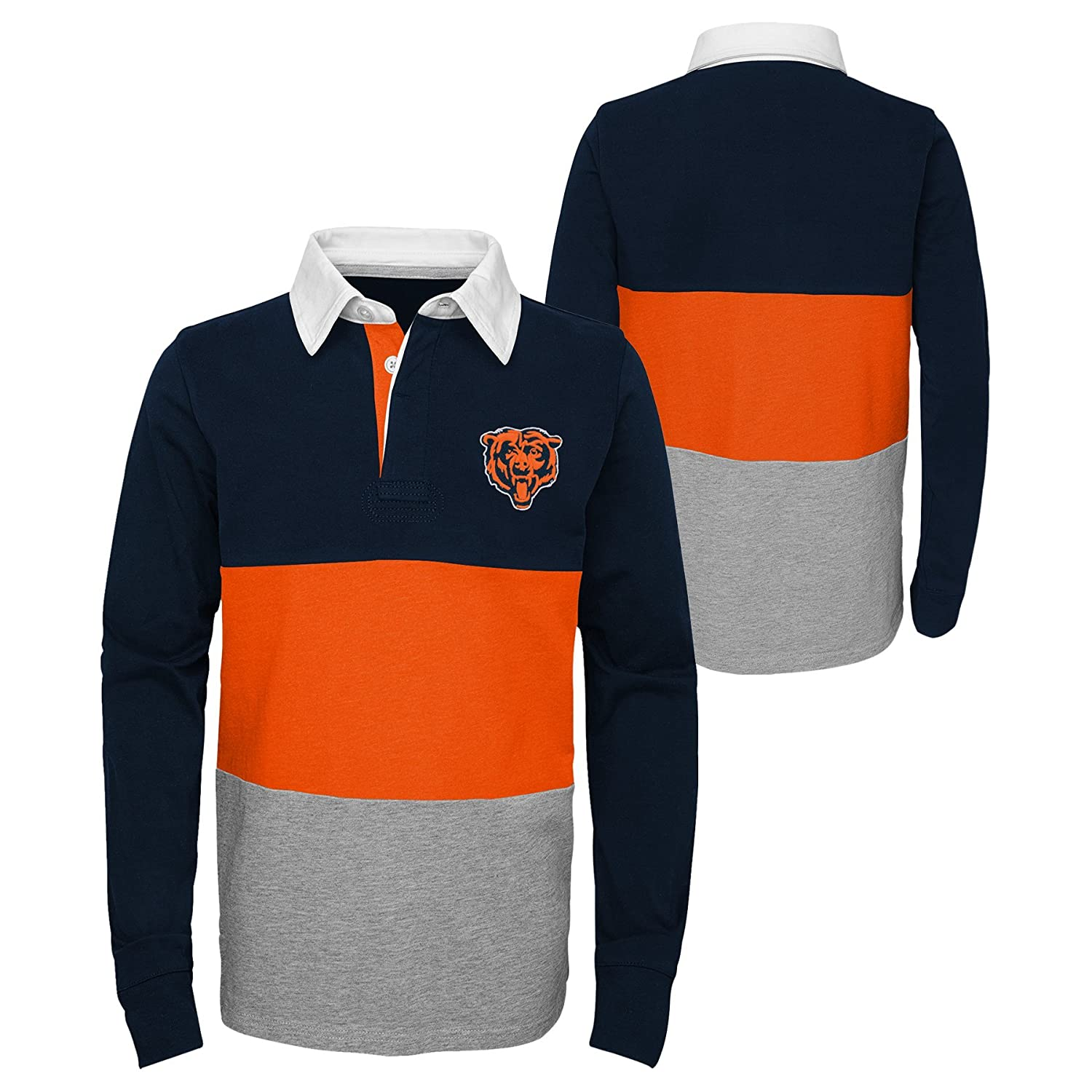 Youth X-Large 18 Outerstuff NFL Chicago Bears Youth Boys State of Mind Long Sleeve Rugby Top Deep Obsidian